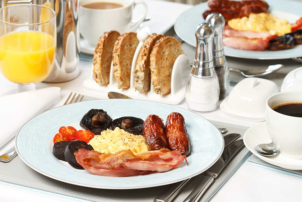 The full English breakfast with locally sourced sausages